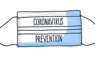 Máscara de coronavirus de protección médica covid 19 con ilustración de diseño de doodle de vector de estilo dibujado a mano