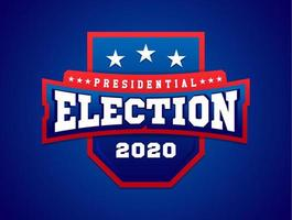 Vector illustration banner with shield. American flag. Presidental election in 2020.