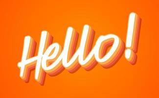 Hola letras a mano con ilustración de vector de colores naranja y amarillo