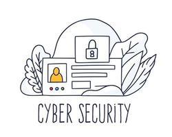 concepto de seguridad cibernética. concepto de seguridad de internet de protección de datos en línea con espacio de copia aislado horizontal del doodle de identificación personal.