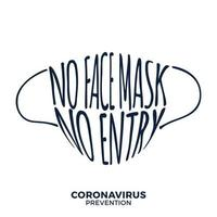No face mask, no entry protect and prevent from Coronavirus or Covid-19 hand draw lettering warning sign vector