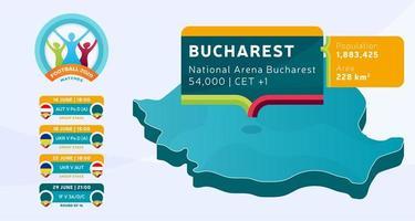 Mapa isométrico del país de Rumania etiquetado en el estadio de Bucarest que se llevará a cabo partidos de fútbol ilustración vectorial. Infografía de la etapa final del torneo de fútbol 2020 e información del país.