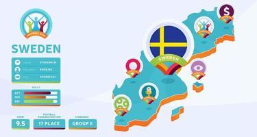 Mapa isométrico de la ilustración de vector de país de Suecia. Infografía de la etapa final del torneo de fútbol 2020 e información del país. colores y estilo oficiales del campeonato
