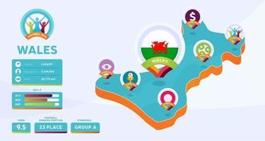 Mapa isométrico de la ilustración de vector de país de Gales. Infografía de la etapa final del torneo de fútbol 2020 e información del país. colores y estilo oficiales del campeonato