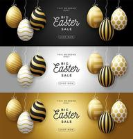 Luxury Easter egg sale horizontal banner set. Easter card with gold and white realistic eggs hang on a thread, golden ornate eggs on black modern background. Vector illustration. Place for your text