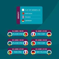 Football 2020 tournament final stage group F vector stock illustration with matches schedule. 2020 European soccer tournament with background. Vector country flags