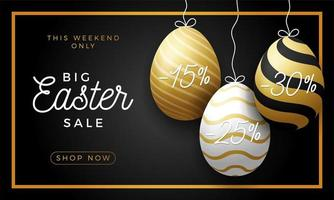 Luxury Easter Egg Sale Horizontal Banner. Golden Easter Frame Card With Realistic Eggs That Hang on a Thread, Gold Ornate Eggs on Black Modern Background. Vector Illustration