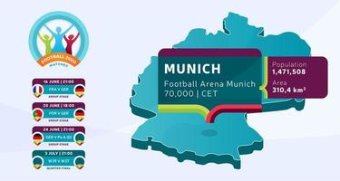 Isometric Germany country map tagged in Munich stadium which will be held football matches vector illustration. Football 2020 tournament final stage infographic and country info