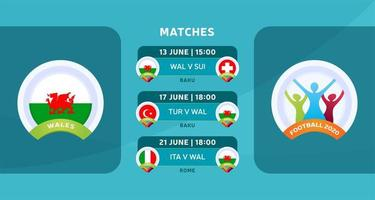 Schedule of matches of the Wales national team in the final stage at the European Football Championship 2020. Vector illustration with the official gravel of football matches.
