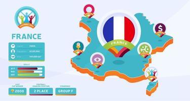 Mapa isométrico de la ilustración de vector de país de Francia. Infografía de la etapa final del torneo de fútbol 2020 e información del país. colores y estilo oficiales del campeonato