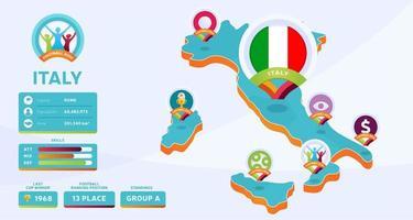 Mapa isométrico de la ilustración de vector de país de Italia. Infografía de la etapa final del torneo de fútbol 2020 e información del país. colores y estilo oficiales del campeonato