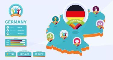 Mapa isométrico de la ilustración de vector de país de Alemania. Infografía de la etapa final del torneo de fútbol 2020 e información del país. colores y estilo oficiales del campeonato