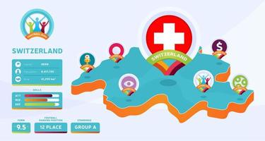 Mapa isométrico de la ilustración de vector de país de Suiza. Infografía de la etapa final del torneo de fútbol 2020 e información del país. colores y estilo oficiales del campeonato
