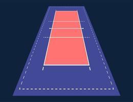 perspectiva plana cancha de voleibol arena. campo con plantilla de línea. estadio de vector. Ilustración de tablero de táctica. vector