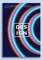 Neon Poster, Retro Design, 80s Sci-fi Pattern, Futuristic Background. Flyer Template. Shapes, Motion, Abstract, Geometric Vector Illustration for Music Party Invitation, Minimalist Banner, 1980 Print.