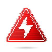 High voltage icon with noise effect or digital glitch. Bolt warning triangular red sign. High voltage symbol isolated on white background. Vector illustration.