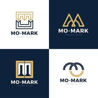 Unique modern creative elegant artistic black and gold color MO OM M O initial based letter icon logo set