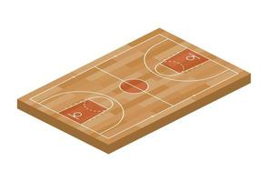 Basketball Field Sport Isometric View for Web, App. Vector Illustration of Orange Field With Hoop, Isolated on White Background. Top View of a Court for Game Design Field