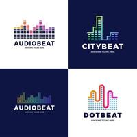 Diseño de vector de stock de plantilla de logotipo de onda de sonido de audio. Conjunto de logotipo de tecnología de música abstracta de línea. emblema de elemento digital, forma de onda de señal gráfica, curva, volumen y ecualizador. ilustración vectorial.