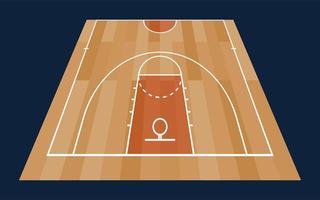 Piso de media cancha de baloncesto de perspectiva con línea sobre fondo de textura de madera. ilustración vectorial vector