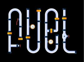 Fuel is a creative concept. The word fuel is made in a cartoon style of font in the form of pipes. vector