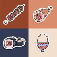 sushi, kebab, huevo, juego de pegatinas de carne. Dibujado a mano doodle ilustración de vector de colección de iconos para fondos, estampados textiles, menú, web y gráfico.