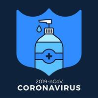 Soap or Sanitizer Gel and Shield Using Antibacterial, Virus Icon, Hygiene, Medical Illustration. Coronavirus Covid-19 Protection vector