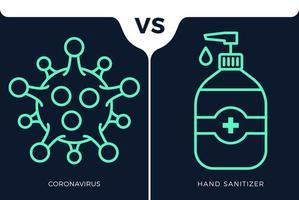 banner gel desinfectante de manos antivirus vs o versus concepto de coronavirus protección covid-19 signo ilustración vectorial. Fondo de diseño de prevención de covid-19.