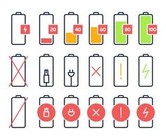 Battery charging vector icons. Charge power level, smartphone accumulator energy status. Cell phone battery signal indicators isolated icons set. Collection of device charge process sign