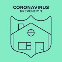 banner permanecer en casa icono de escudo vs o contra coronavirus concepto protección covid-19 signo ilustración vectorial. Fondo de diseño de prevención de covid-19.