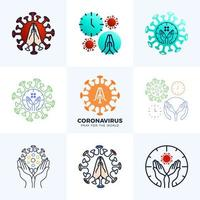 Set Pray for the World Coronavirus Concept With Hands Vector Illustration. Collection Time to Pray Corona Virus 2020 Covid-19. Coronavirus in Wuhan Vector Illustration.