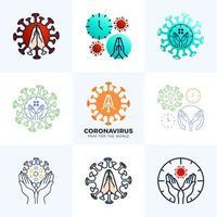Establecer orar por el concepto de coronavirus mundial con la ilustración de vector de manos. tiempo de recolección para rezar corona virus 2020 covid-19. coronavirus en la ilustración de vector de wuhan.