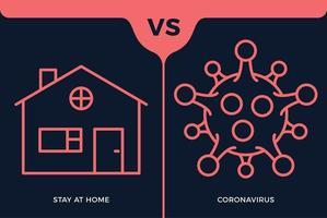 banner permanecer en el icono de casa vs o contra el concepto de coronavirus protección covid-19 signo ilustración vectorial. Fondo de diseño de prevención de covid-19.