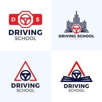 Driving School Vector Logo. Car Wheel With Road Sign Logo Design. Training, Vehicle, Transport and Transportation, Vector Design and Illustration