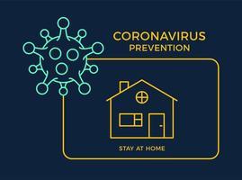 banner estancia en casa icono prevención coronavirus. concepto de protección covid-19 signo ilustración vectorial. Fondo de diseño de prevención de covid-19.