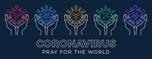 Set Pray for the World Coronavirus Concept With Hands Vector Illustration.