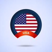 círculo bandera americana imagen vectorial de la ilustración de la bandera americana. Estados Unidos de America.