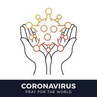 Ore por el concepto de coronavirus mundial con la ilustración de vector de manos. hora de rezar coronavirus 2020 covid-19. coronavirus en la ilustración de vector de wuhan. virus covid 19-ncp.
