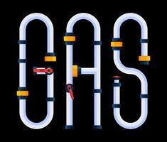la palabra gas está hecha en un estilo de fuente de dibujos animados en forma de tuberías. vector