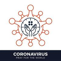 Pray for the World Coronavirus Concept With Hands Vector Illustration.