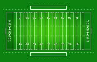 Flat green American football field. Top view of rugby field with line template. Vector stadium.