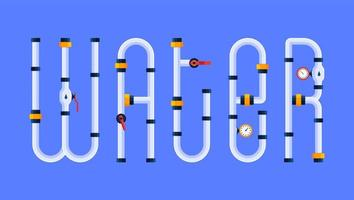 The Water Text Is Made in a Cartoon Style of Font in the Form of Water Pipes. Creative Concept