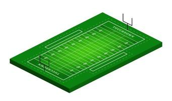 Vector flat isometric view of American football field illustration. Abstract isometric sport illustration
