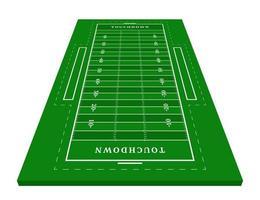 Perspective green American football field. View from front. Rugby field with line template. Vector illustration stadium.