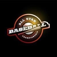 béisbol vector moderno deporte profesional tipografía logotipo naranja en estilo retro. emblema de diseño vectorial, insignia y diseño de logotipo de plantilla deportiva