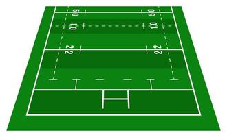 Perspective green rugby half field. View from front. Rugby field with line template. Vector illustration stadium.