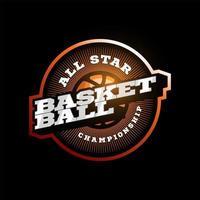 Logotipo de tipografía de deporte profesional moderno de baloncesto en estilo retro. emblema de diseño vectorial, insignia y diseño de logotipo de plantilla deportiva.