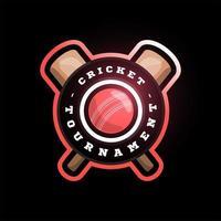 logotipo de vector de círculo de cricket con murciélago cruzado. tipografía profesional moderna deporte estilo retro vector emblema y plantilla de diseño de logotipo. logo colorido de voleibol
