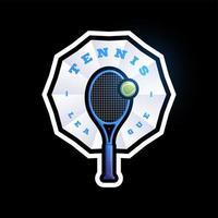 Logotipo de vector de forma abstracta de tenis. tipografía profesional moderna deporte estilo retro vector emblema y plantilla de diseño de logotipo. logo colorido de tenis.