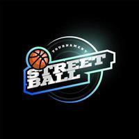 Logotipo de tipografía de deporte profesional moderno streetball en estilo retro. emblema de diseño vectorial, insignia y diseño de logotipo de plantilla deportiva.